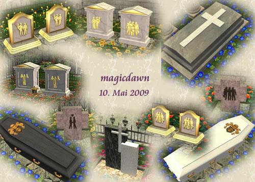 Die Sims 2 Downloads- Objekte: Küche, Gartenmöbel, Urnen, Grabsteine, Zäune, Wohnzimmer